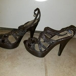Brown platform sandals size 8